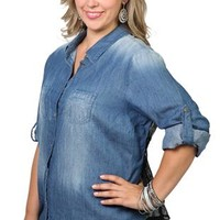 plus size  chambray sand blasted shirt with lace back and roll sleeves