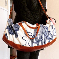 Weekend Travel Bag, duffel bag, ocean print, octopus, yoga bag, gym bag,