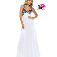 Flirt by Maggie Sottero 2014 Prom Dresses-White & Electric Blue Chiffon Dress with Open Back