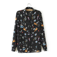 Black Sky Galaxy Print Long-Sleeve Collared Chiffon Blouse
