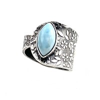 Larimar Sterling Silver Adjustable Floral Pattern Ring