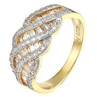 Womens Wedding Bridal Ring Baguette Simulated Diamond 14k Gold On 925 Silver