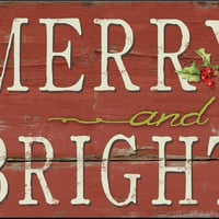 "Merry and Bright wooden sign.  Handmade.  Approx. 12.5"" x 18.5"""