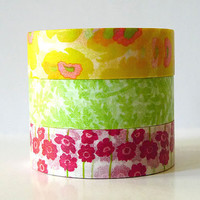 Japanese Washi Tape Yellow POPPY Green Leaves Pink by PrettyTape
