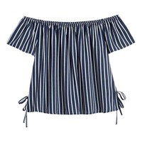 Off-the-shoulder top - Blue/White striped - Ladies | H&M GB