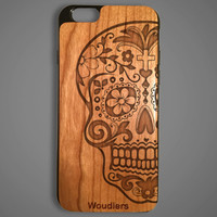 Sugar Skull wooden iPhone 6 case, protective hybrid rubber and wood, Sugar skull case, iphone 6, galaxy s3, galaxy s4, galaxy s5