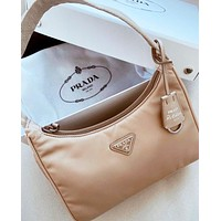 PRADA Bag Nylon Retro Hobo-Underarm Bag-Leisure-Crescent Crossbody Bag Apricot