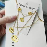 GUCCI Fashionable Women Retro Earrings Necklace Two Piece Set I/A