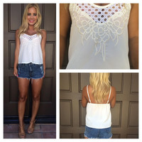 Vision Of Love Eyelet Embroidered Tank - WHITE