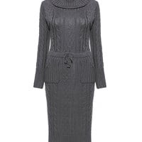 Grey Roll Neck Knitted Dress with Pockets