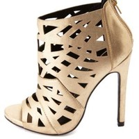 Metallic Laser Cut-Out Peep Toe Booties by Charlotte Russe - Gold