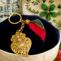 Portuguese filigree Viana heart key chain gold folk Portugal jewelry Heart of Viana key ring souvenir Flag charm