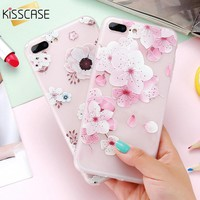 KISSCASE Flower Cases For iPhone 7 Plus Case iPhone 7 Beauty Girly Soft Silicone Back Case For iPhone 6 6s Plus 6 6s Capa Coque