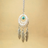 Dream catcher Necklace,good luck charm,Good luck necklace,Feather and Turquoise necklace,bridesmaids gift,Dream catcher long necklace
