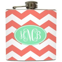 """Liquid Courage Flasks: """"Coral and Mint Monogram"""" - Personalized Flask with Your Initials on Chevron Stripe"""