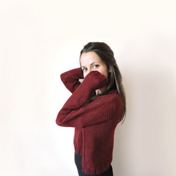 FREE SHIPPING Crop top mohair sweater Claret knit blouse Cropped mohair blouse Super soft cozy sweater Long sleeve top Red cropped sweater