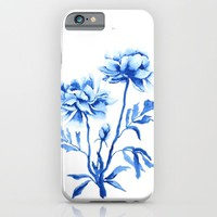 blue peony watercolor  iPhone & iPod Case by Color And Color