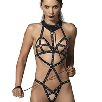 Leg Avenue Female Cage Strap Studded Bondage Teddy With O-Ring Cups And Attached Leash KI4019