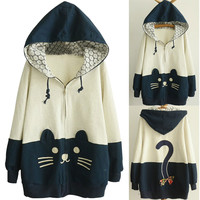 Bear Print Color Block Front Zip Drawstring Hooded Sweater