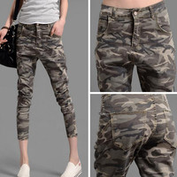 womens loose trousers Camouflage  Green Skinny harem pants woman capris  plus size