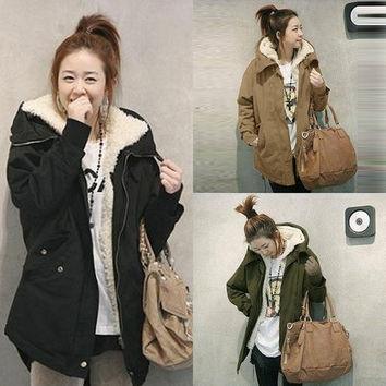 S-XXL Khaki Black Army Green Fashion Women Winter Fur Coat Warm Long Overcoat Cotton Jacket Parka = 1932502852