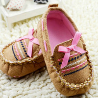Tan & Pink Baby Moccasin Crib Shoes