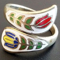 Guilloche Tulip Ring Painted Enamel Red Blue Green & White Sterling Silver Sz 7 1/2 Vintage