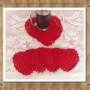 Drink Coasters Crochet With a Red Yarn, 5 Heart Coasters, Tea Party Decoration