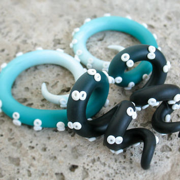 Black and Teal Ear Plugs, Octopus Gauges, Tentacle Plugs 00g, 0g, 2g, 4g, Gauged Earrings, Spiral Gauges, Stretched Ears, Monster