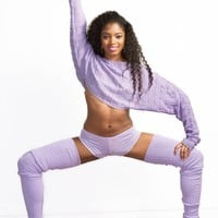 Ballet Yoga Dancewear 3 Pc Set Leg Warmers Sweater Top & Boy Shorts