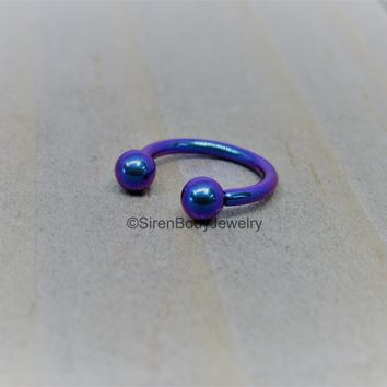 Titanium 16g circular barbell blurple septum horseshoe internally threaded daith ring 5/16""