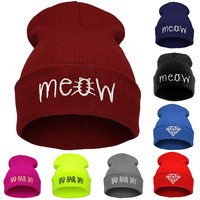 New Beanies MEOW Hats Hip-Hop Cotton Knitted Hat Caps Casual Hip-hop Men And Women
