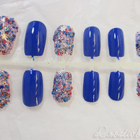 SALE! *Winter in Wonderland* Blue Fake Nails, Sparkly Nails, Fashion Nails, Bling Nails, 3D Nails, Winter Nails, Reusable with Glue