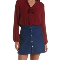 Dark Red Tie-Neck Button-Up Top by Charlotte Russe