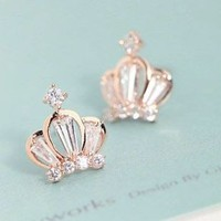 Queen's Crown Gold And Rhinestone Earrings