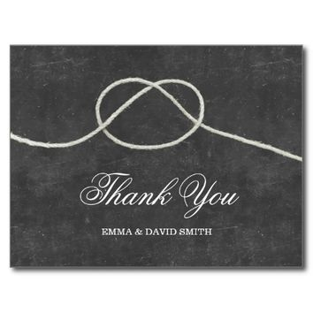 Simple Tying the Knot Chalkboard Thank You Cards