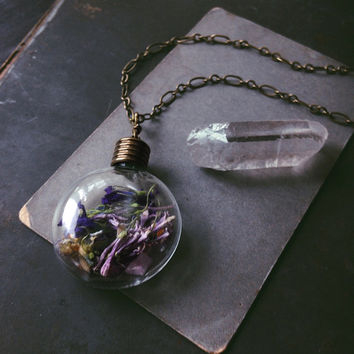 witch bottle necklace • real flower necklace - glass vial necklace - witch jewelry - vial pendant - purple flowers