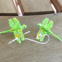Origami Dragonfly Earrings, Dragonfly Jewelry, Lime Green Earrings, Lime Green Dangle, Lime Green Jewelry, Cute Green Earrings, Fun Earrings