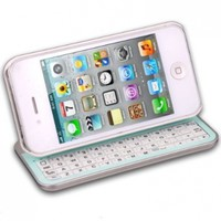 WHITE- BLUETOOTH KEYBOARD CASE SLIDING,LIGHTED,ANGLED,30 PIN, FOR IPHONE 4, 4S