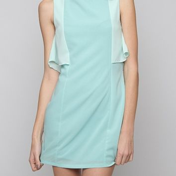 Dress - Gallery Curator Contrast Ruffle Sleeveless Shift Dress in Light Blue