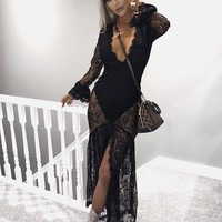 Revolve Black Maxi Lace Dress