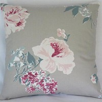 Taupe Teal and Pink Floral Pillow Cover