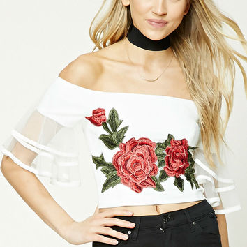 Floral Patch Ruffled Crop Top