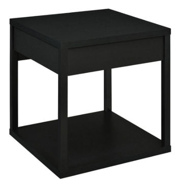 Classic End Table with Drawer Contemporary Living Room Furniture Matte Black