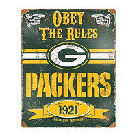 """NFL Green Bay Packers Embossed Metal Sign, 14-1/2x11""""-1/2"""", Green"""
