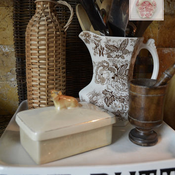Figural Cow Topped Lidded Butter Dish Box or Tea Caddy Crown Devon
