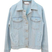 Vintage Loose Light Blue Denim Jackets with Buttons and Pockets Front