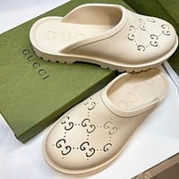 GUCCI GG Womens Double G Hollow Slippers Shoes-18