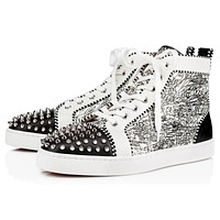 Christian Louboutin Cl 19s Lou Spikes Orlato Men's Flat Calf Caligraf Black-white/silver Sneakers