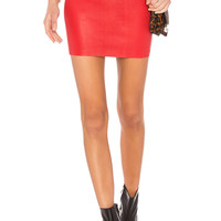 SPRWMN Leather Mini Skirt in Red